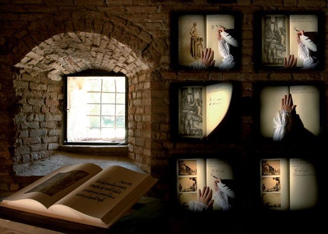 Libro antico di fronte a una finestra e mano che scrive con una piuma d'oca