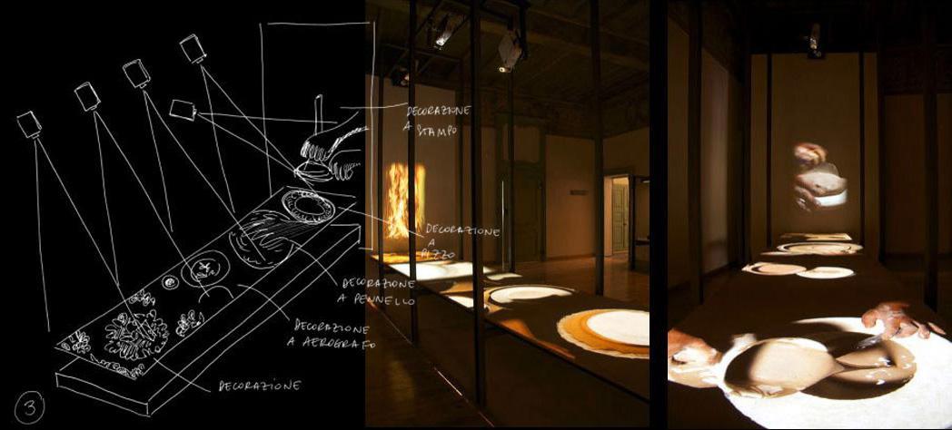 Installazione sulla decorazione della ceramica e disegno per il progetto