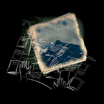Progetto di tavolo interattivo con carte antiche e profilo delle Alpi
