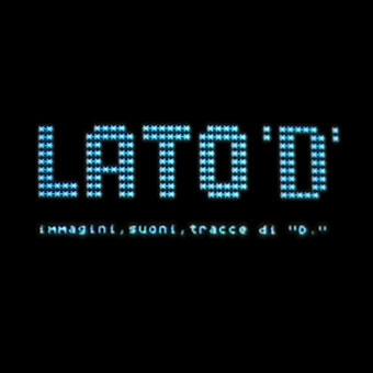 """Scritta elettronica su fondo nero """"Lato D"""""""