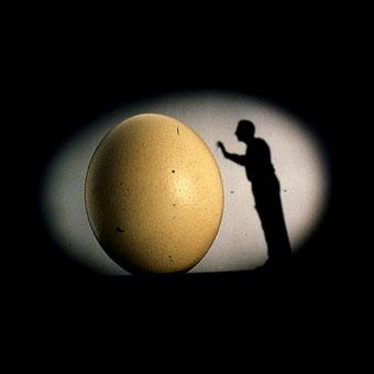 Frame del film Il mnemonista: silhouette di un uomo affianco a un uovo gigante