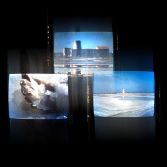 Trittico video con immagini di una salina