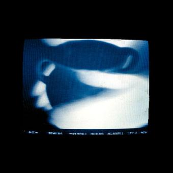 Immagine a infrarosso di mani che toccano un vaso, sullo schermo di un televisore