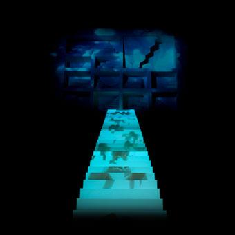 Figure che salgono proiettate su una scalinata illuminata al centro di uno spazio buio, verso Bauci, una delle Città invisibili di Italo Calvino