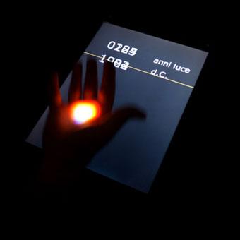 Piccola luce puntata su una mano