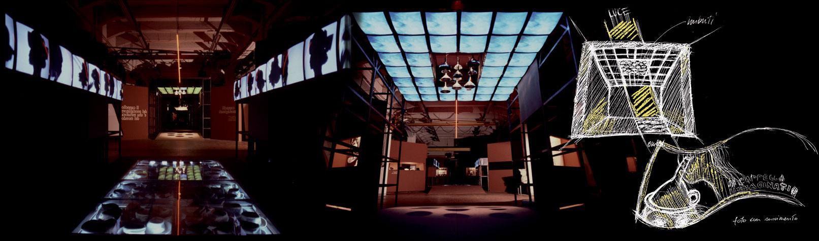 Progetto di Studio Azzurro e allestimento della mostra Cosa ti sei messo in testa, con monitor a parete e soffitto