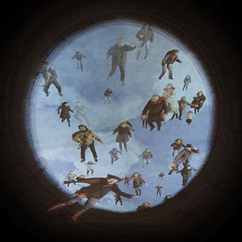Proiezione di figure di senzatetto che volano verso il cielo, in un oculo del soffitto