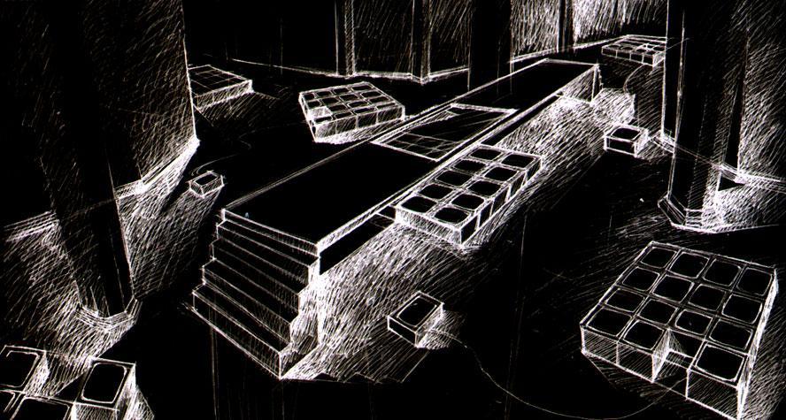 Disegno con monitor a pavimento del progetto per la mostra Gli stili del corpo