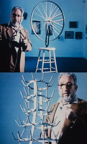 Arturo Schwarz con opere di Marcel Duchamp