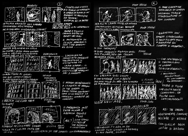 Storyboard per La luna sul Colosseo, il sogno del gladiatore