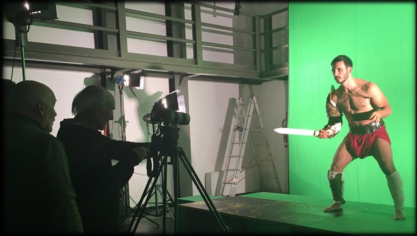 Riprese in studio con green screen e gladiatore