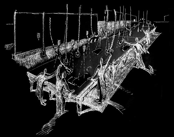 Disegno del progetto per Leonardo, la macchina dell'immaginazione